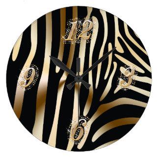 Gold and Black Zebra Wall Clock