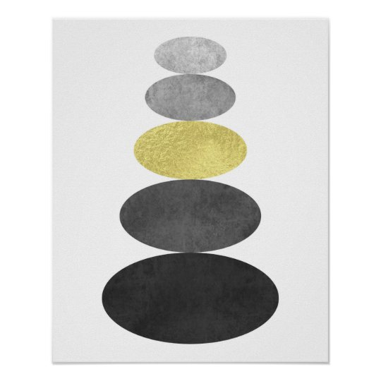 Gold and black zen pebble art print Modern
