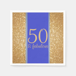 "Gold and Blue ""50 & Fabulous"" 50th Birthday Paper Napkin"