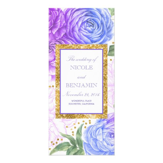 Gold and Blue and Purple Floral Wedding Programs