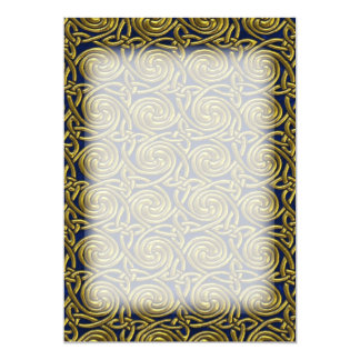 Gold And Blue Celtic Spiral Knots Pattern 13 Cm X 18 Cm Invitation Card