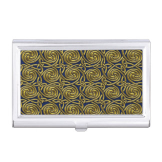 Gold And Blue Celtic Spiral Knots Pattern Business Card Holder