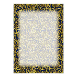 Gold And Blue Celtic Spiral Knots Pattern Invitations