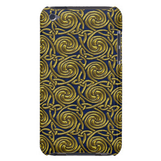 Gold And Blue Celtic Spiral Knots Pattern iPod Touch Cover
