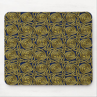 Gold And Blue Celtic Spiral Knots Pattern Mousepads