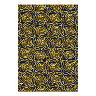 Gold And Blue Celtic Spiral Knots Pattern Photo Art