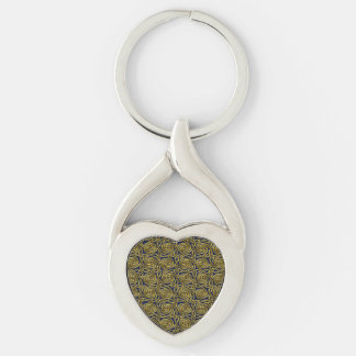 Gold And Blue Celtic Spiral Knots Pattern Keychains