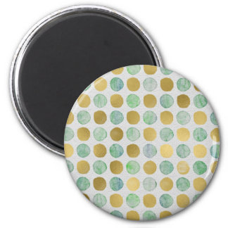 Gold and Blue Christmas Circles 6 Cm Round Magnet
