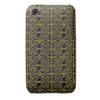 Gold And Blue Connected Ovals Celtic Pattern iPhone 3 Cases