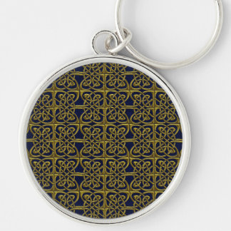 Gold And Blue Connected Ovals Celtic Pattern Keychain