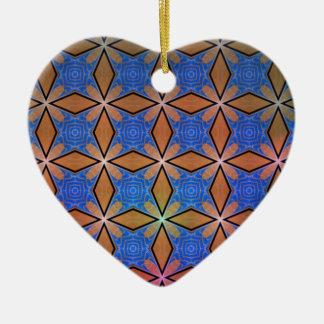 Gold And Blue Diamond Crosses Ceramic Heart Decoration