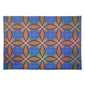 Gold And Blue Diamond Crosses Placemat