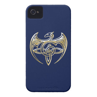 Gold And Blue Dragon Trine Celtic Knots Art iPhone 4 Case-Mate Cases