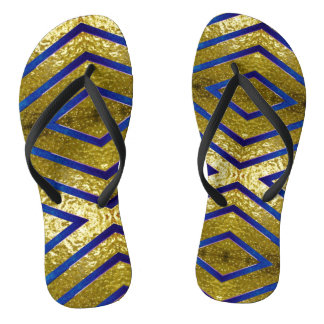 Gold and Blue Flip Flops