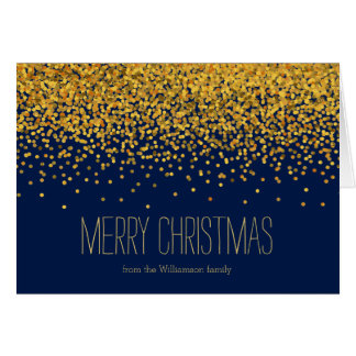 Gold and Blue Glam Confetti Dots Christmas Greeting Card