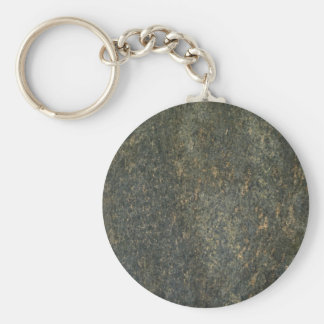 Gold and blue granite basic round button key ring