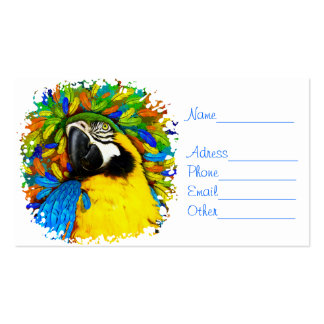 Gold and Blue Macaw Parrot Fantasy Business_Cards Business Card