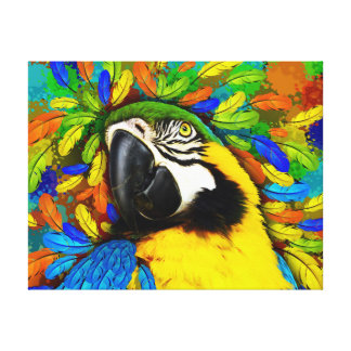 Gold and Blue Macaw Parrot Fantasy Canvas_Print Stretched Canvas Prints