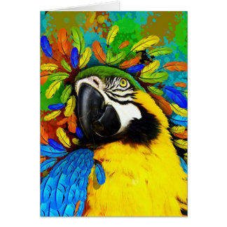 Gold and Blue Macaw Parrot Fantasy Greeting_Cards Greeting Card