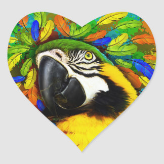 Gold and Blue Macaw Parrot Fantasy Heart Stickers