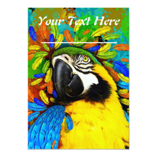 Gold and Blue Macaw Parrot Fantasy Invitation_Card 13 Cm X 18 Cm Invitation Card