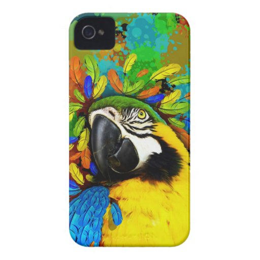 Gold and Blue Macaw Parrot Fantasy iPhone_4_Cases iPhone 4 Case