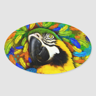 Gold and Blue Macaw Parrot Fantasy Oval Stickers