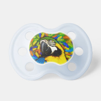 Gold and Blue Macaw Parrot Fantasy Pacifier