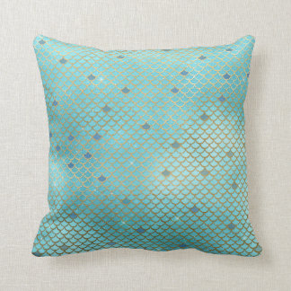 Gold and Blue Ombre Mermaid Scales Cushion