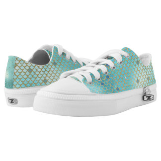 Gold and Blue Ombre Mermaid Scales Low Tops