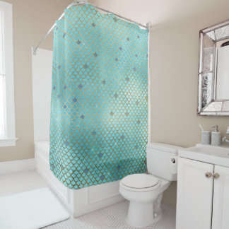 Gold and Blue Ombre Mermaid Scales Shower Curtain