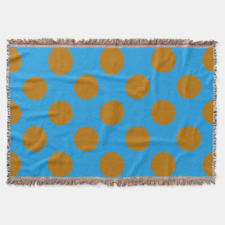 Gold and Blue Polkadots Throw Blanket