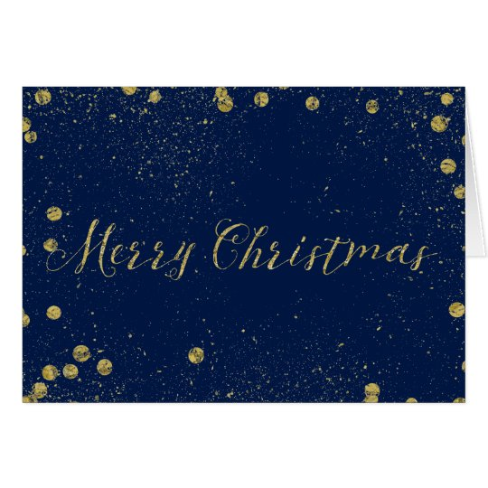 Gold and Blue Sparkle Confetti Dots Christmas Card