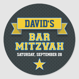 Gold and Blue Sports Tackle Twill Bar Mitzvah RSVP Classic Round Sticker