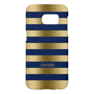 Gold And Blue Stripes With Monogram