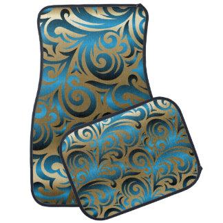 Gold and Blue Swirl Pattern Design Car Mat