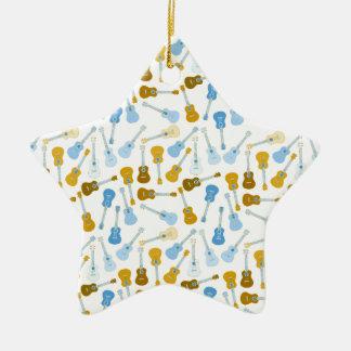gold and blue ukuleles christmas ornament
