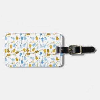 gold and blue ukuleles bag tag