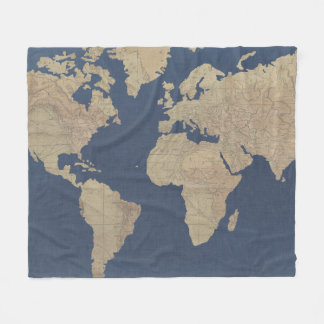 Vintage world map blankets bed blankets zazzle gold and blue world map fleece blanket gumiabroncs Image collections