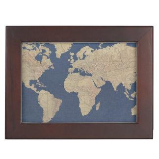 Gold and Blue World Map Keepsake Box