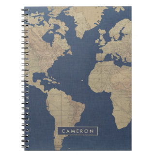 Gold and Blue World Map Note Books