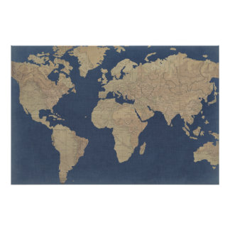 Gold and Blue World Map Poster