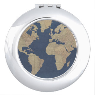 Gold and Blue World Map Vanity Mirror