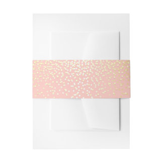 Gold and Blush Confetti Dots Wedding Invitation Belly Band