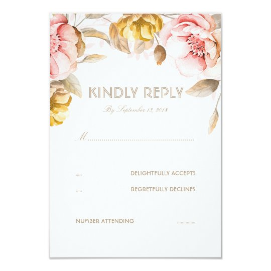 Gold and Blush Flower Watercolor Wedding RSVP Card