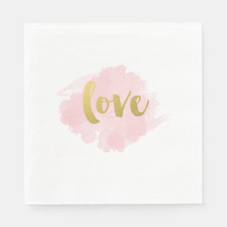 Gold and Blush Love Napkins Disposable Napkins