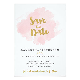 Gold and Blush Save the Date Card