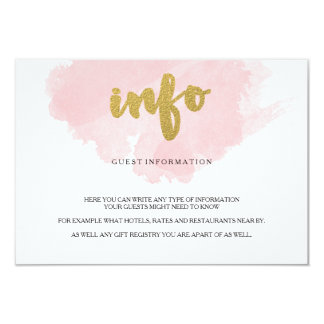 Gold and Blush Watercolor Guest Information 9 Cm X 13 Cm Invitation Card