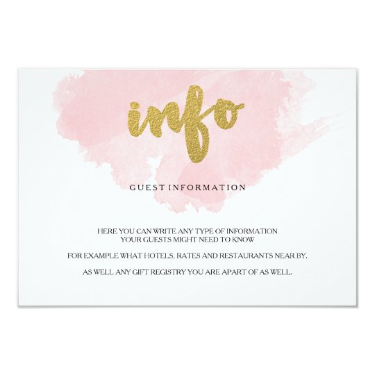 Gold and Blush Watercolor Guest Information Card