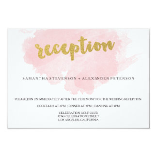 Gold and Blush Watercolor Wedding Reception Card